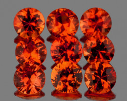 2.50 mm Round 9 pcs 0.80ct Intense Orange Sapphire [VVS]