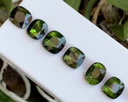 17.40 Cts 6 Pcs Lustrous Dark Green Natural Tourmaline