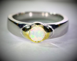 Precious Opal .79ct Golden Rhodium Finish Solid 925 Sterling Silver Ring