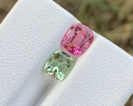 1.90 Carats Pink and Apple green colour Tourmaline Gemstone From Afghanista