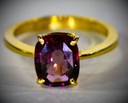 Purple Pink Spinel 3.40ct  Solid 22K Yellow Gold Ring