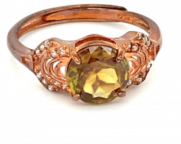 Sphene 1.70ct Rose Gold Finish Solid 925 Sterling Silver Ring