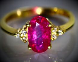 Jegdalek Ruby 2.32ct Natural Diamonds Solid 22K Yellow Gold Ring Natural Un