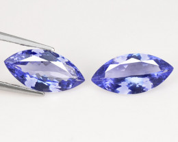 2.37 Cts 2pcs Amazing rare AA Violet Blue Color Natural Tanzanite Gemstone
