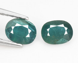 Grandidierite 0.67 Cts 2 Pcs Very Rare Bluish Green Natural Loose Gemstone