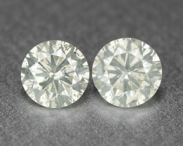 0.39 Cts 2 Pcs Untreated Fancy Yellowish Grey Color Natural Loose Diamond