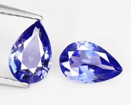 1.07 Cts 2pcs Amazing rare AA Violet Blue Color Natural Tanzanite Gemstone