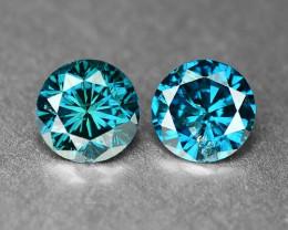 Diamond 0.16 Cts 2 pcs Sparkling Rare Fancy Intense Blue Color Natural