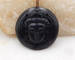 116cts Black Agate Buddha Pendant Bead ,Hand Carved Pendant Bead H906