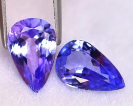Tanzanite 4.30Ct 2Pcs Natural VVS Purplish Blue Tanzanite ER406/D4