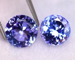 Tanzanite 4.00Ct 2Pcs Natural VVS Purplish Blue Tanzanite ER407/D4