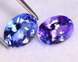 Tanzanite 4.35Ct 2Pcs Natural VVS Purplish Blue Tanzanite ER408/D4