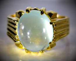 Prehnite 10.00ct Solid 18K Yellow Gold Ring