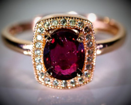 Red Tourmaline 1.05ct Rose Gold Finish Solid 925 Sterling Silver Ring