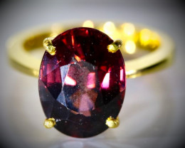 Red Zircon 10.06ct Solid 22K Yellow Gold Ring