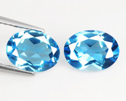 2.96 Cts 2 Pcs Blue Natural Topaz Gemstones