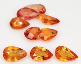 *No Reserve* Orange Sapphire 2.08 Cts 9 Pcs Amazing Rare Natural Fancy Loos