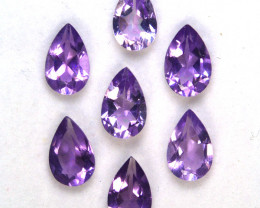 5.22 Cts Natural Purple Amethyst 8x5mm Pear Cut 7Pcs Bolivia