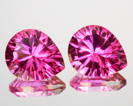 ~CONCAVE CUT~5.56 Cts Candy Pink Natural Topaz 10 X8mm Pear 2 Pcs Brazil
