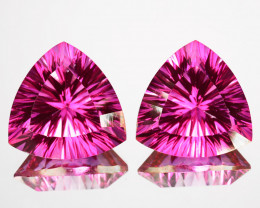 ~Matching pair~ 4.10 Cts Candy Pink Natural Topaz 8mm Trillion Concave Braz