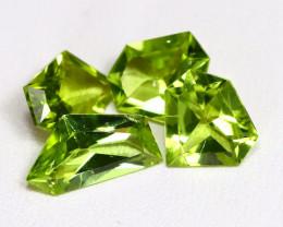 Peridot 4.68Ct 4Pcs Fancy Cut Natural Neon Green Peridot Lot AB3304