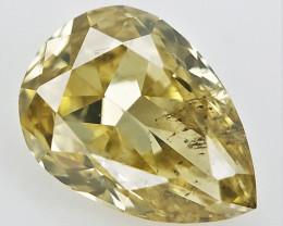 0.10 cts . Yellow Natural Diamond , Pear Cut