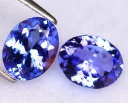 Tanzanite 4.06Ct 2Pcs Natural VVS Purplish Blue Tanzanite DR514/D4