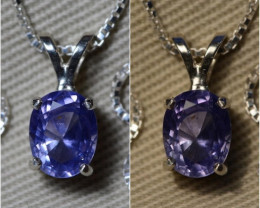 """CUSTOM 16"""" GIA Certified Unheated Color Change Blue To Violet Sapphire 1.59"""