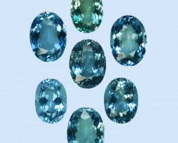 6.54 Cts Natural Nice Blue Aquamarine 7 X 5mm Oval 7Pcs Brazil