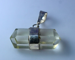 NR!!!! 15.15 CTs Natural - Unheated Yellow Quartz Pendant With Silver Cap