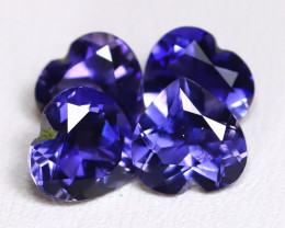 Iolite 2.78Ct 4Pcs Heart Cut Natural Purplish Blue Color Iolite Lot B3323