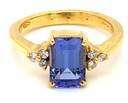 Tanzanite 3.75ct Natural Diamonds Solid 18K Yellow Gold Ring