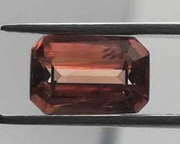 Zircon, 1.76ct from Tanzania, orange coloured, emerald cut.