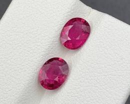 1.95 CT Natural Color Rubellite Tourmaline Gemstone 2 pc