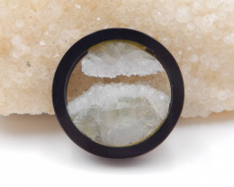 95cts Natural obsidian, clear crystal intarsia pendant bead H1027