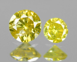 0.10 Cts 2 Pcs Sparkling Rare Fancy Vivid Yellow Color Natural Loose Diamon