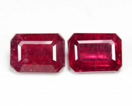 2.83 Cts 2pcs Pinkish Red Natural Ruby BURMA  Loose Gemstone