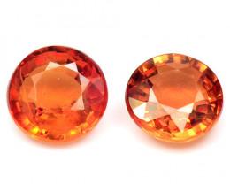 1.27 Cts 2 Pcs Amazing Rare Natural Fancy Orange Red Ceylon Sapphire Loose