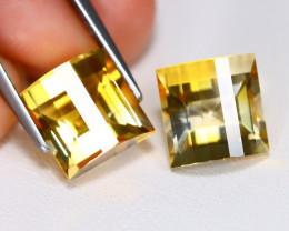 Citrine 7.41Ct 2Pcs Pixalated Cut Natural Golden Yellow Citrine Lot B3550