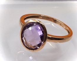 14k solid gold and Amethyst Ring