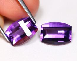 Amethyst 5.48Ct 2Pcs Pixalated Cut Natural Purple Amethyst AB3531