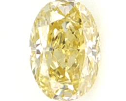 0.11 cts .Oval Cut Diamond , Light Yellow Color Diamond