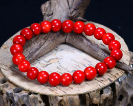 144.25Ct Natural Red Coral Beads Bracelet AB3658