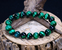 145.00Ct Green Color Tiger Eye Beads Bracelet AB3665