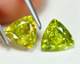 Sphene 1.71Ct 2PCs Trillion Cut Natural Vivid Green Color Sphene Lot B3586