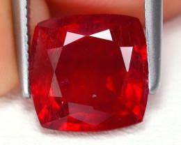 Red Ruby 2.97Ct Cushion Cut Pigeon Blood Red Ruby B3612