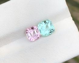 2.25 Ct Natural Blue & Pink Transparent Tourmaline Gemstones Pairs