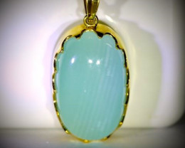 Cats Eye Calcite 45.60ct Solid 18K Yellow Gold Pendant