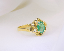 Natural Emerald 18kt Gold Ring Size 5.5US