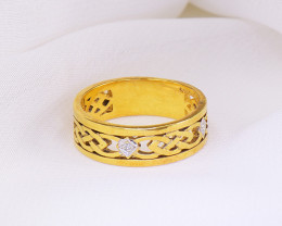 Celtic 9kt Gold Ring with Diamonds , Solid Look & Feel
